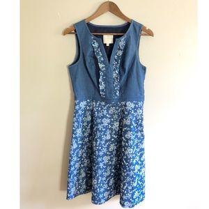 ModCloth Chambray Floral Ruffle Shift Dress